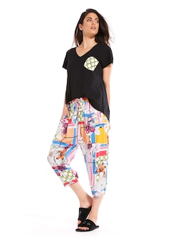 Mixed Floral Drop Crotch Pj Pant