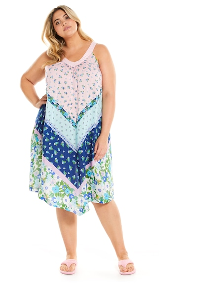 P.A. Plus Summer Days V Neck Hankie Hem Nightie