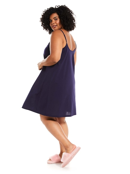 P.A. Plus Navy Nightie With Shelf Bra