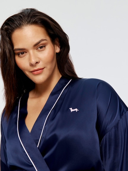 P.A. Plus Navy Chic Satin Lux Gown