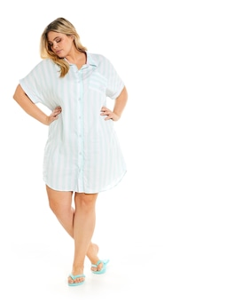 P.A. Plus Mint Stripe Boyfriend Nightshirt