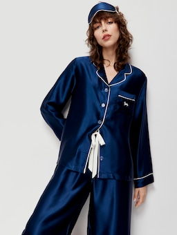 Navy Silk Pj Set With Eye Mask