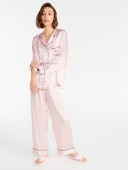 Pink Luxe Silk Pj Set With Eye Mask