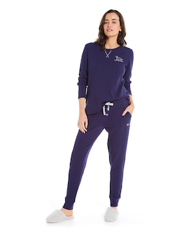 Solid Navy Waffle Legging