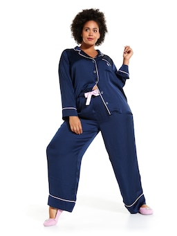 P.A. Plus Long Navy Chic Satin Pj Set