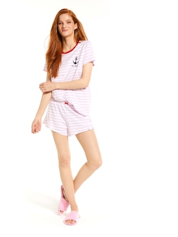 Pink Stripe Anchor Tee