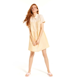 Cotton Stripe Pleated Nightshirt