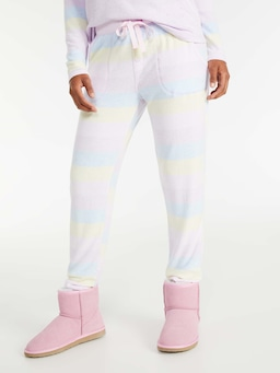 Fuzzy Stripe Tapered Pj Pant