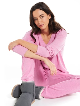 Dusty Berry Fuzzy Easy Pj Pant