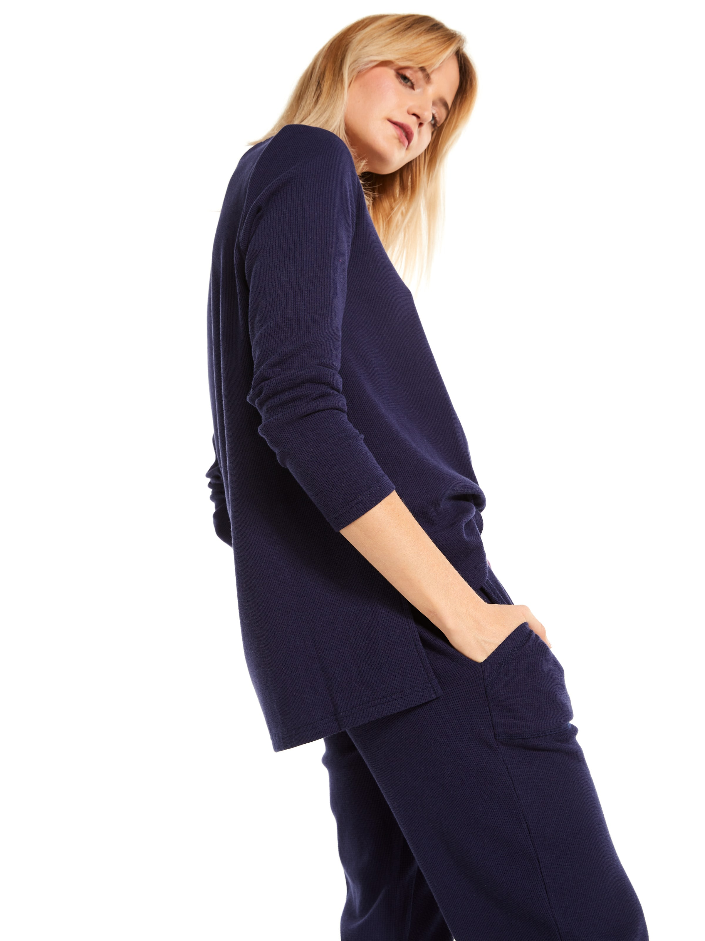 Navy Waffle Long Sleeve Top by Peter Alexander