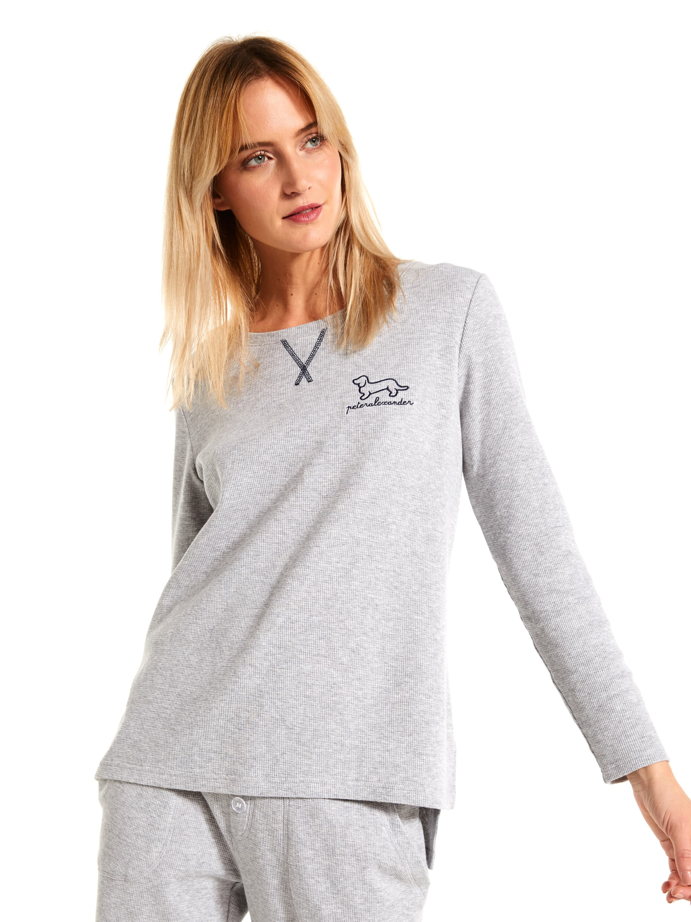 Grey Waffle Long Sleeve Top by Peter Alexander
