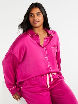 P.A. Plus Shocking Pink Chic Satin Pj Set