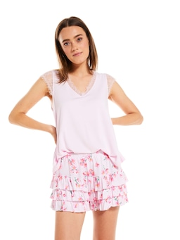 Painted Floral Ruffle Short