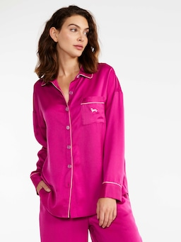 Shocking Pink Chic Satin Long Pj Set