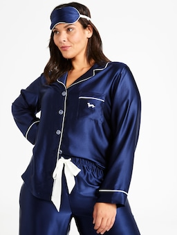 P.A. Plus Luxe Navy Silk Pj Set