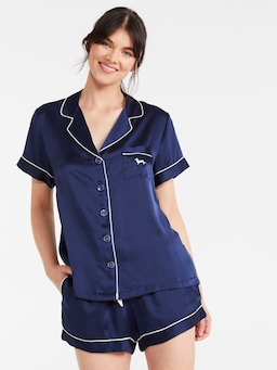 Navy Silk Shortie Pj Set