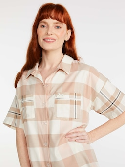 Caramel Buffalo Check Short Sleeve Shirt