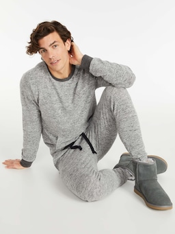 Heather Knit Fuzzy Jogger