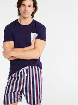 Plum Stripe Mid Short