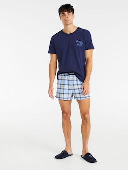 Blue Check Boxer Short