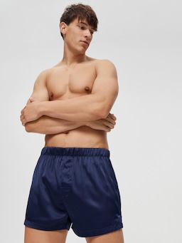 Navy Satin Boxer Short