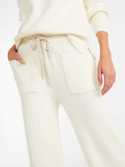 Cream Rib Knit Wide Leg Pant