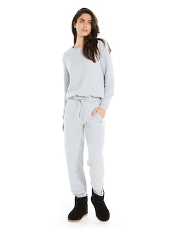 Grey Quilted Pj Pant