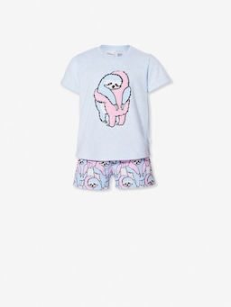 Jnr Girls Hugging Sloth Short Pj Set