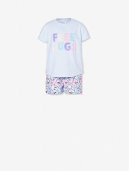 Girls Hugging Sloth Short Pj Set