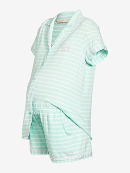 Maternity Mint Stripe Pj Set