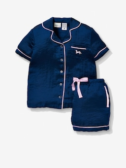 Jnr Girls Navy Chic Satin Pj Set