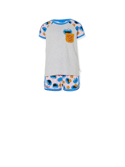 Girls Sesame Street Cookie Monster Pj Set