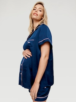 Maternity Navy Chic Satin Pj Set