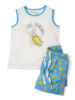 Jnr Boys Banana Tank Pj Set