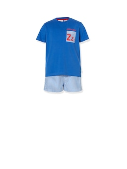 Boys Blue Stripe Short Pj Set