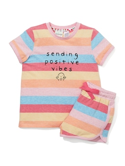 Girls Positive Vibes Pj Set