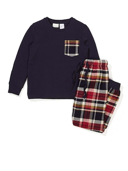 Jnr Boys Dark Check Pj Set