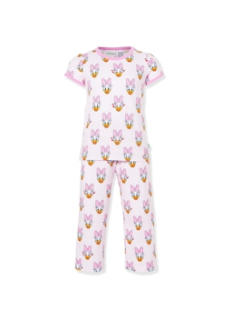 Jnr Girls Pink Daisy Duck Long Pj Set