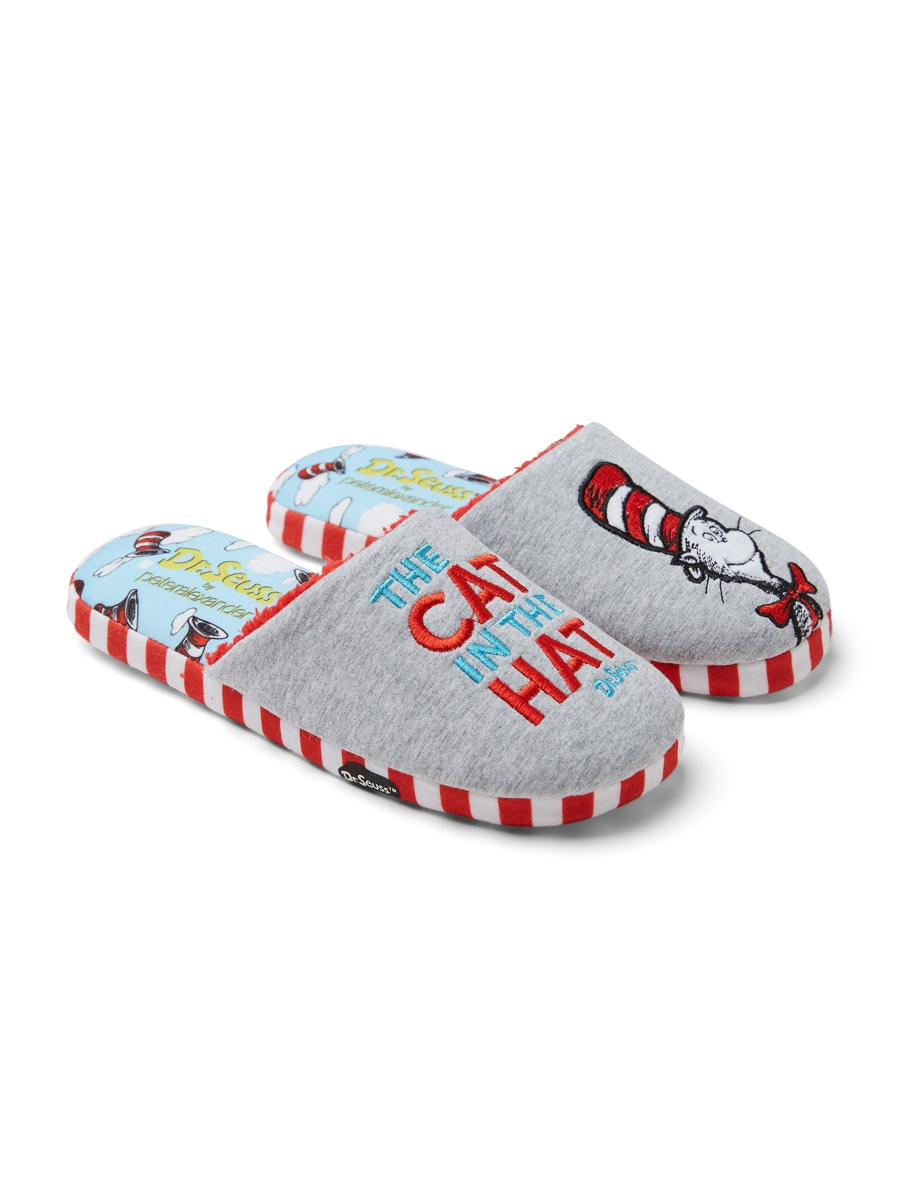 cdd97f43bf1a9 Dr. Seuss Cat In The Hat Scuff Grey Marle - Peter Alexander Online