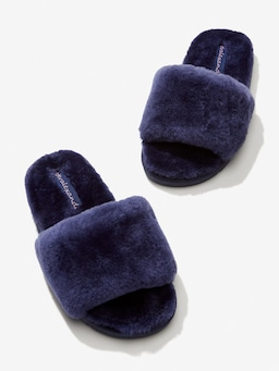 Navy Wooly Slide