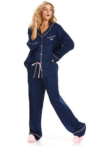 Chic Poly Satin Classic Navy Pj Set