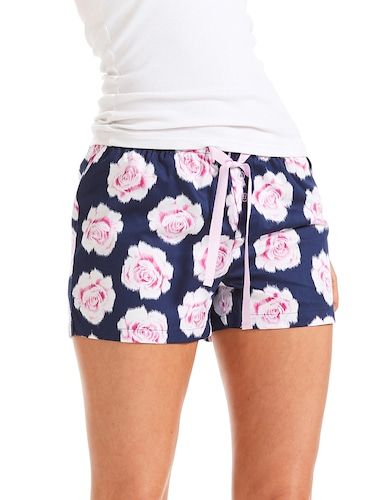 Navy Floral Mid Short