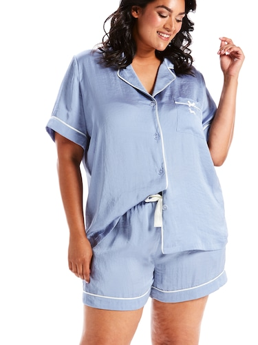 P.A. Plus Chic Poly Satin Pj Set