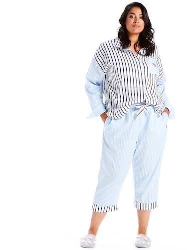 P.A. Plus Stripe Turn Up 3/4 Pj Pant