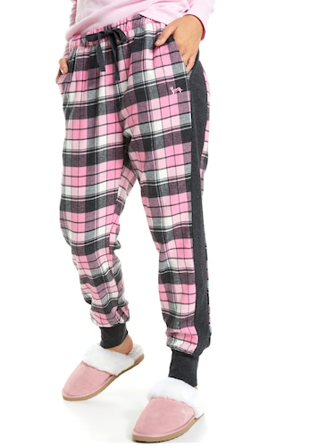 Pink Check Flannelette Cuff Pj Pant