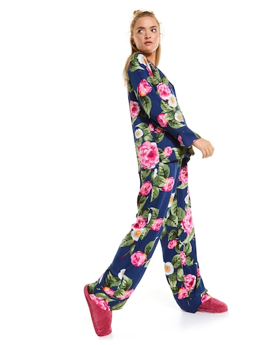 Navy Floral Long Sleeve Pj Set