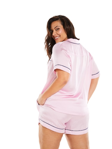 P.A. Plus Pink Chic Satin Pj Set