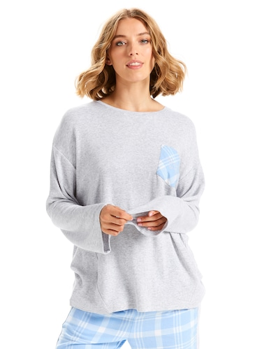 Check Pocket Waffle Long Sleeve Top