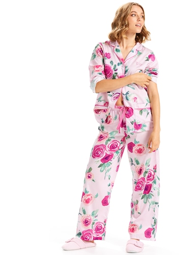 Pink Rose Classic Sateen Pj Set