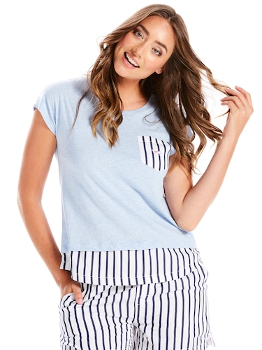 Stripe Pocket Short Sleeve Tee